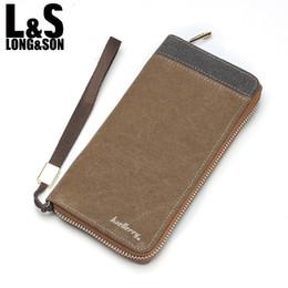 Wholesale New Design Leather Key Chain - Wholesale- 2016 New Arrival Vintage Long Design Men's Canvas Zipper Wallet Phone Bag Fashion Casual Business Men Clutch Bag