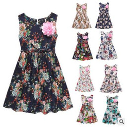 Wholesale Retro Style Clothing Wholesale - Baby Dresses INS Print Flower Beach Dresses Girls Princess Party Dress Cotton Summer Costume Sleeveless Retro Slim Dress Baby Clothes J117