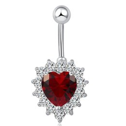 Wholesale Barbell Belly Button - White Red Top Quality AAA+ CZ Big Diamond Heart Dangle Barbell Belly Button Navel Ring Bar Piercing for Sexy Ladies