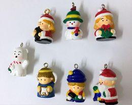 Wholesale Toy Santa Figures - 50PCS lot Capsule Toys Santa Claus Snowman Dolls 3.5-4.5cm Angel Cartoon Anime Action Figure Capsule Toys Kids Christmas Gift