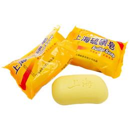 Wholesale Acne Eczema Psoriasis - 85g Shanghai Sulfur Soap 4 Skin Conditions Acne Psoriasis Seborrhea Eczema Anti Fungus Perfume Butter Bubble Bath Healthy Soaps