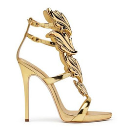 Wholesale White Ankle Strappy Dress Shoes - Hot Sale Golden Metal Wings Leaf Strappy Dress Sandal Silver Gold Red Gladiator High Heels Shoes Women Metallic Winged Sandals