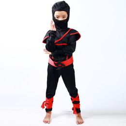 Wholesale Winter Clothing Japan - Wholesale- Japan Style Kids Red Black Ninja Play Costumes Set Halloween Boys Assassin Clothing Suit Girls Samurai Christmas Party Wear