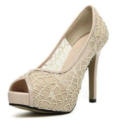 Wholesale Grenadine Wedding Dress - New style wedding high heel sexy lace grenadine hollow out shoes bridal wedding shoes