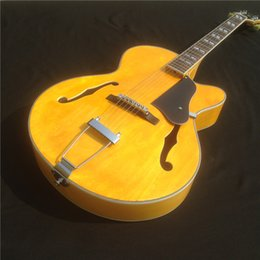 Wholesale New Arrival Jazz Guitar - New arrival yellow color L5 Full Hollow body Jazz Guitar China F Holes Guitar Custom Available Electric guitar free shipping