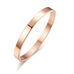 Wholesale Men Luxury Gold Chains - Luxury Rose Gold Bangle Simple Titanium Steel Men Bangle Bracelet With Snap Buckle Fashion Fine Jewelry For Men Women Gift