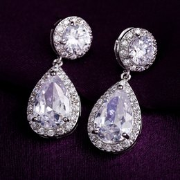 Wholesale Gold Layer Earrings - 3 layers real 18k white gold  platinum plated 5A grade zirconia diamond luxury bride earrings for women
