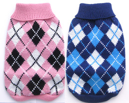 Wholesale Xs Dog Sweaters - Free Shipping! Pink Blue argyle dog Sweater pet jumper clothes apparel Coats,5 sizes XS S M L XL5 sizes available