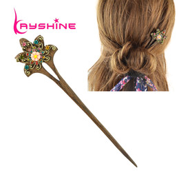 Wholesale Vintage Wood Plates - Fashion Hair Jewelry Vintage Style Wood with Colorful Rhinestone Flower Hair Sticks Hairwear For Women Fashion Designer