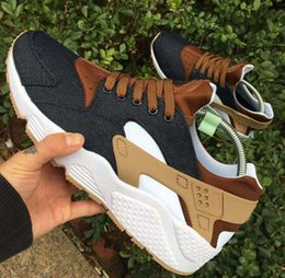 Wholesale Womens Shoe Denim Blue - 2017 New arrival Drop Shipping Wholesale Famous Huarache iD Denim Brown Mens Womens Athletic Sneakers Sports Running Shoes Size 5.5-11