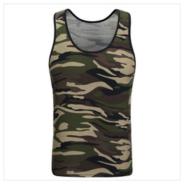 Wholesale Tight Fashion Vests - Mens Vests Fashion Bodybuilding Tight Camouflage Bottoming Vest Men's Sports High Elastic Breathable Summer Vests US Size:XS-XL