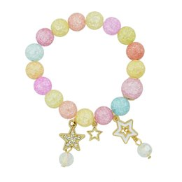 Wholesale Colored Beads For Bracelets - Latest Design Fashion Jewelry Colored Beads Bracelets with Gold Five-pointed Stars Charms for Women