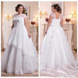 Wholesale Back Up Online - A-Line Wedding Dresses Vintage Modest Lace Appliques Scoop Neck Cap Sleeve Lace Up Back Bridal Gowns 2017 Custom Online Vestidos De Novia