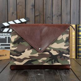 Wholesale Canvas Envelope Wallets - GUDANSEN Men Day Clutch Envelope Leather Mens Clutches Camouflage Handbags Casual Wallet Purse A4 Document Men's Business Bag
