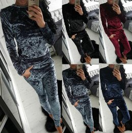Wholesale Long Sleeve Velour Tracksuits Women - Women Sexy Tracksuits 2PCS Set, Tops + Pant Sets Fashion Woman Sport Clothing Long Sleeve Casual Tracksuit Sports Clothes Sports Suit