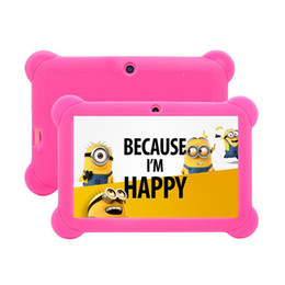 Wholesale Laptop Tablet Gps Wifi - Best gift for kids ! 8GB 7 inch Android4.4 A33 4 Core Tablet PC Laptop Children Touch Screen with free Silicone Case