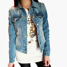Wholesale Loose Jeans For Women - Wholesale- Fashion 2014 Autumn Frayed Vintage Women's Jeans Loose Denim Jacket Women Short Jean Jacket Jackets For Women Outwear Z8