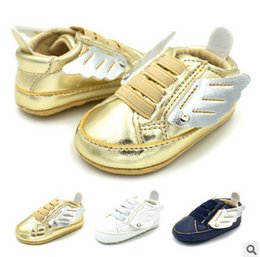 Wholesale Baby Walking Wings - Baby shoes little girl angle wings casual toddler shoes infant newborn indoor garden baby wear walking shoes boys casual shoe T4498