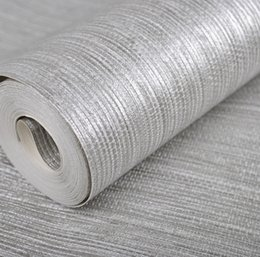 metallic cloth Coupons - Wholesale- Vertical Texture Metallic Silver Faux Grasscloth Modern Wall Paper Straw Glossy Grass Cloth Wallpaper For Bedroom Wall