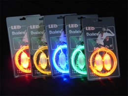 Wholesale Cool Shoes For Girls - wholesale Light up LED Luminous Shoelaces Flash Party Skating Glowing Shoe Laces for Boys Girls Cool Fashion Luminous Shoe Strings