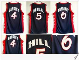 Wholesale Usa Pennies - #4 Charles Barkley 5 Grant Hill 6 Penny Hardaway Retro 1996 USA Team Mens Stitched Embroidery American Throwback basketball Sports Jerseys