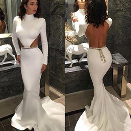 Wholesale Cut Up Prom Dresses - Sexy Backless Prom Dresses with Long Sleeves High Neck Side Cut Gold Beading Sweep Train Satin 2016 Formal Evening Dresses Gowns for Pageant