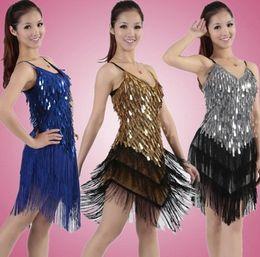 Wholesale Green Fringe Dress - Women sixy tassel fringe latin ballroom salsa cha cha Samba rumba jive dancewear competition Sequin fancy dress costumes for sale