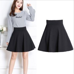 Wholesale Casual Knee Length Skirts - 4 Colors Midi Skirt Summer skirts womens High Waist Pleated A Line Skater Casual saias Knee Length Saia office skirt