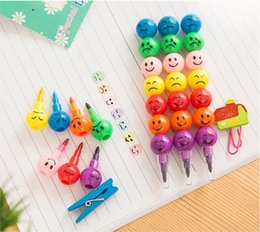 Wholesale Art Toy 12 - 7 Color WaterColor Brush Smiley Cartoon Pens Pencil Markers Children's Toys Gifts emoji Watercolor crayons free shipping