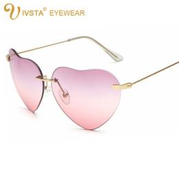 Wholesale Pink Heart Shaped Sunglasses - IVSTA Heart Sunglasses Women Ladies Brand Designer Vintage 2017 103 Mirror Steampunk Luxury Retro Female Hear Shaped Sunglasses