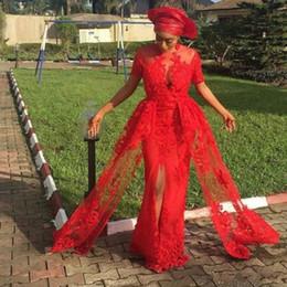 Wholesale short occasion dresses women - Hot Red Nigerian Front Split Evening Dresses Short sleeves Long Lace Appliques African Women Special Occasion Wear Vestido De Festa