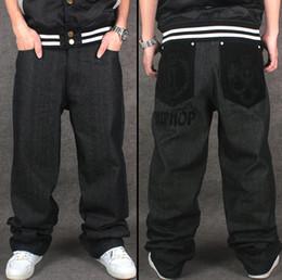 Wholesale Wide Leg Plus Size Capris - Wholesale- Hip Hop Baggy Jeans Flocking Crown&Letter Pattern New Arrival Mens Wide Leg Loose Fit Skateboard Jeans Free Shipping