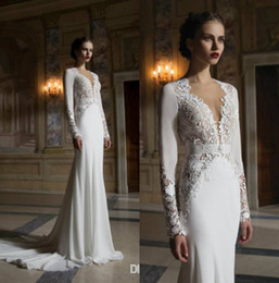 Wholesale Classy Backless Dresses - Classy Mermaid Lace Berta Wedding Dresses With Long Sleeves Plunging Neck Hollow Chapel Train 2017 Backless Bridal Gowns Cheap