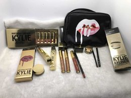 Wholesale Birthday Boxes - in stock Kylie Gift Box Golden Box Gloss Suits Makeup Bag Birthday Collection Cosmetics Birthday Bundle Bronze Kyliner Kylie Jenner Holiday
