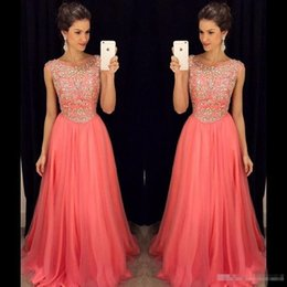 Wholesale One Shoulder Watermelon Dress - Elegant Watermelon Chiffon Long Prom Dresses Plus Size 2017 Beaded Top Cheap Formal Evening Gowns Zipper Back Floor Length Occasion Dresses