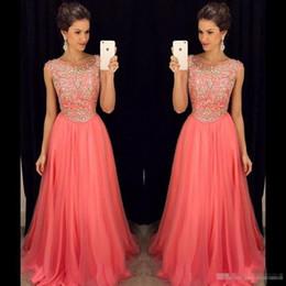 Wholesale Watermelon Art - Elegant Watermelon Chiffon Long Prom Dresses Plus Size 2017 Beaded Top Cheap Formal Evening Gowns Zipper Back Floor Length Occasion Dresses