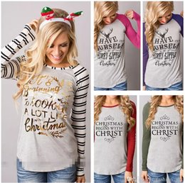 Wholesale wholesale long sleeve tshirts - Women Christmas Long Sleeved Tshirts Letters Printed Elk Striped Colors Patchwork O-neck Bottoming Tops Fashion Tees