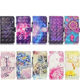 Wholesale Rabbit Night Light Wholesale - 3D Flower Leather Wallet Case For Iphone X 8 7 Plus 6 6S SE 5 Flip Cover ID Card Slot Rabbit Star Night Giraffe Butterfly Datura Pouch Strap