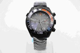 Wholesale Deep Divers - 2018new seller Deep Black Divers Watch Rotatable Ceramic Bezel 45MM Mens Watches With Black Stainless Steel Band Quartz Chronograph Movement
