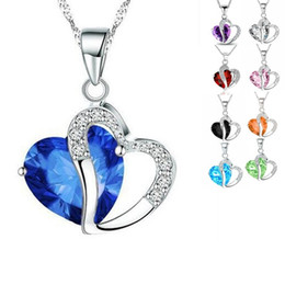 Wholesale Mix Order Steel Heart - Hot Sale Elegant Alloy Heart Crystal Diamond Pendant Necklace Party Jewelry ( 9 Colors ) Mix Order