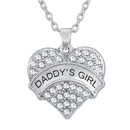Wholesale Girls Jewlery - Sliver Color Zinc Alloy Material Rhodium Plated DADDY'S GIRL Message Pendant Zinc Alloy Material Rhinestone Heart Charm Necklaces Jewlery