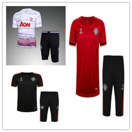 Wholesale Free Suits - top thai quality 16-17 Rooney Ibrahimovic pogba short sleeves training suit soccer jersey short sleeve 3 4 pants football kits free shipping