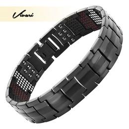 Wholesale Ion Plated Titanium - Vivari 2017 Men Black Health Bracelet 4in1 Magnets Negative Ions Germanium Far Infra Red Titanium Bangle Fashion jewelry Charm
