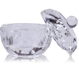 Wholesale Crystal Clear Storage Boxes - Wholesale- 1Pc Glass Crystal Bowl Cup Dappen Dish Acrylic Clear Acrylic Q-tip Storage Holder Box Cosmetic Makeup Case