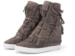 Hot Flecos 8cm Cuñas Ocultas Plataforma Mujeres Botines Borla Encaje Color Caramelo Casual Zapatillas altas Zapatillas Mujer Zapatos Mujer desde fabricantes