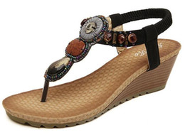 Wholesale Folk Shoes - Wholesale Women Bohemia Folk Style Shoes Wedges Trade Sandals Handmade Beaded Sandals Lady Kitten Heel casual Sandals Free Shipping