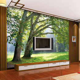 Wholesale Dream Sat - Seamless large custom primeval forests, sitting room background wall murals nature forest road 3 d dream bedroom