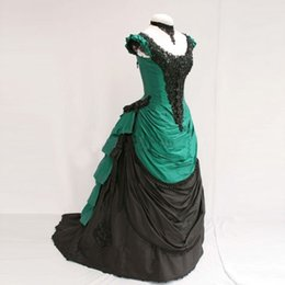 Wholesale Vintage Woman Costume - Customized Best Selling Green And Black Taffeta Short Sleeves Victorian Bustle Ball Gowns Women Halloween Costumes