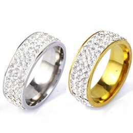 Wholesale row rings - Titanium 3 Rows Crystal Diamond Wedding Rings Gold Ring Finger Rings Couple Ring band Women Men Best Friend Lovers Wedding Jewelry 080192