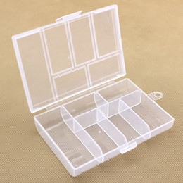 Wholesale Empty Box Nails - Empty 6 Compartment Plastic Clear Storage Box For Jewelry Nail Art Container Sundries Organizer Free Shipping ZA3998